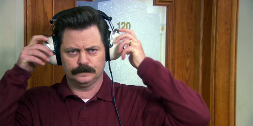 Ron Swanson Willie Nelson on my headphones