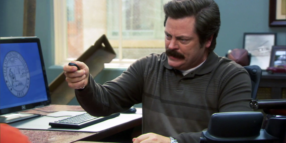 Ron Swanson disgustingly asks for help from a co-worker