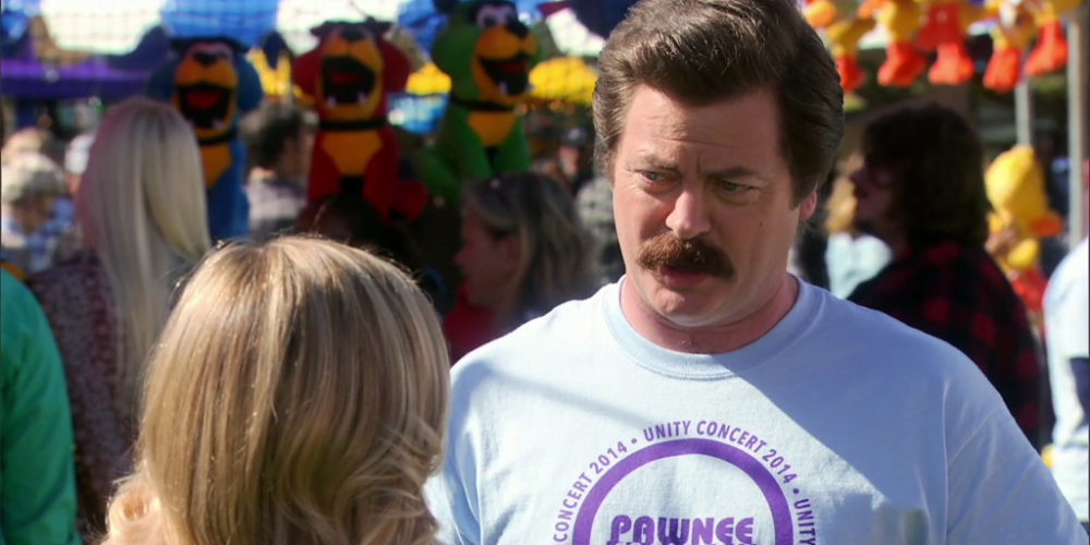 Ron Swanson sees a food booth he must visit for sausage quilts