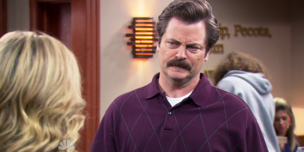 Ron Swanson is sorry he attended a public event