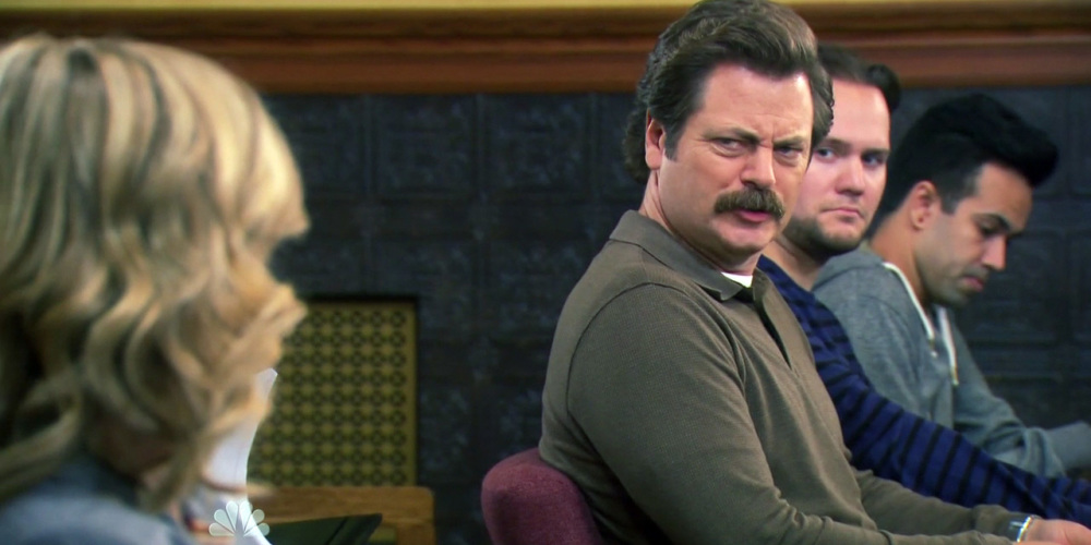 In Ron Swanson's experience with capitalism people normally expect money in exchange for their goods and land