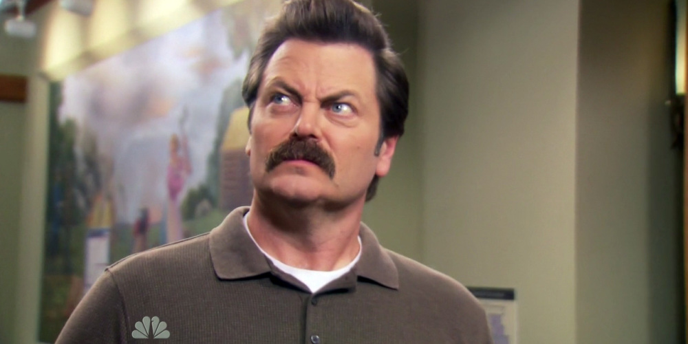 Ron Swanson can smell Tammy Two is near