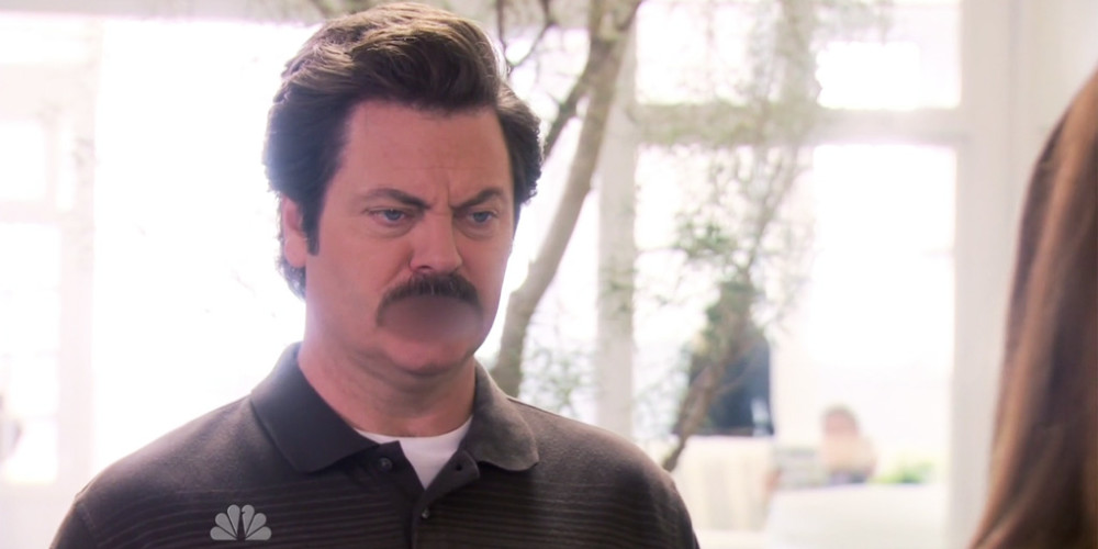 Ron Swanson is not impressed with beef milk