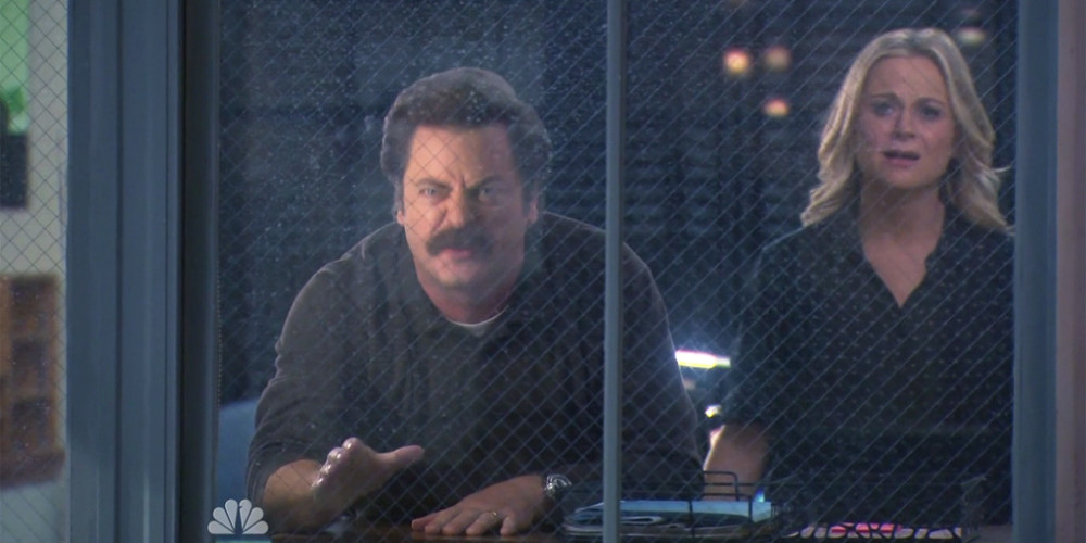 Ron Swanson will watch a foreign film or talk to man with a ponytail