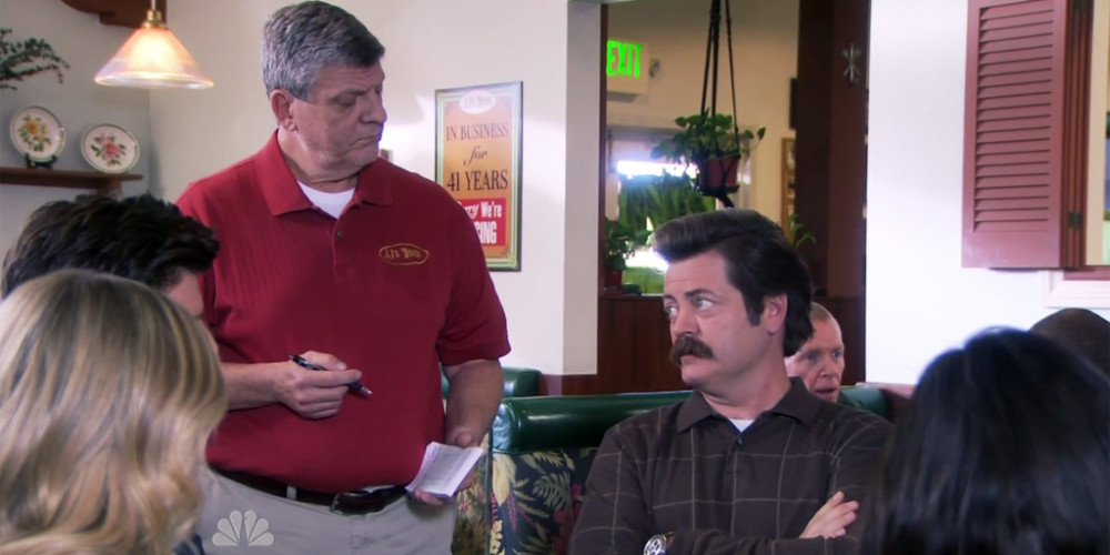 Ron Swanson is a firm believer in the free market and breakfast food