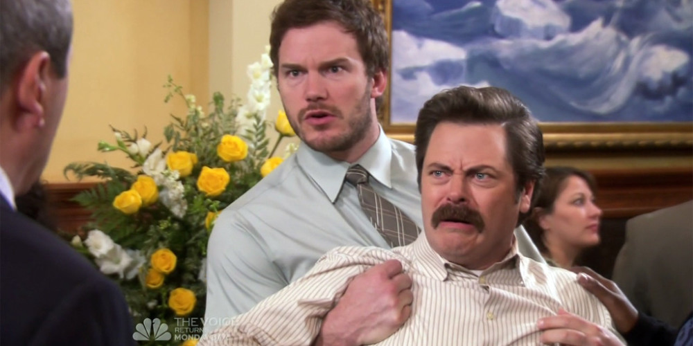 Ron Swanson dramatically reacts to news of barber Salvatore's passing picture5