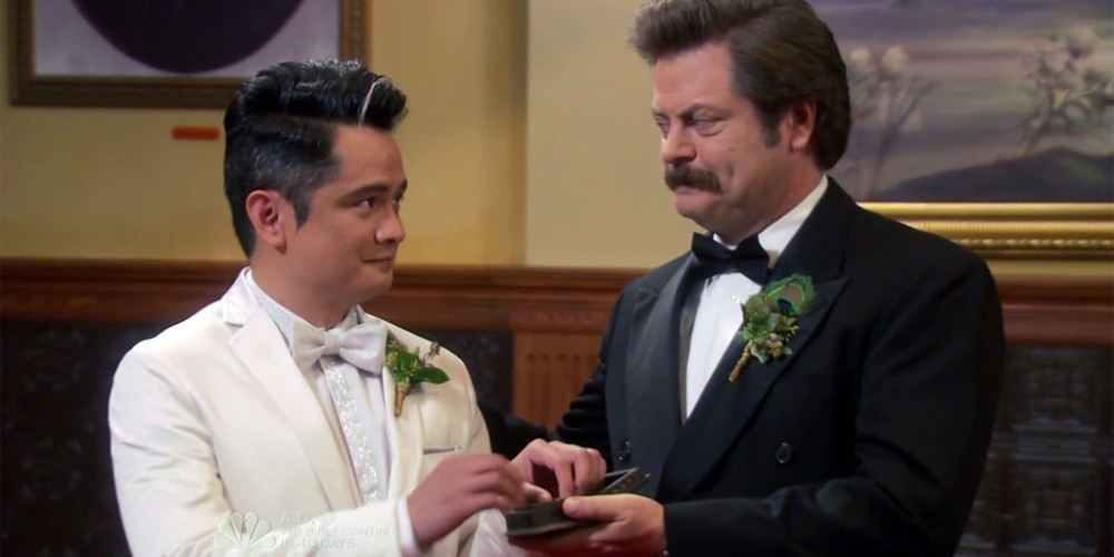 Ron Swanson is the best man at Craig and Typhoon's wedding