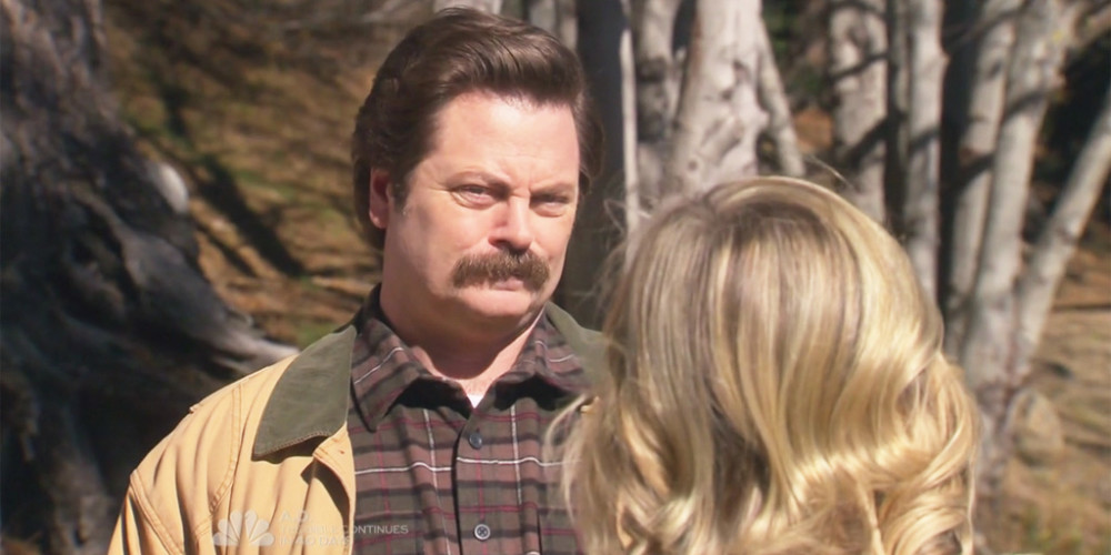 Ron Swanson meets Leslie Knope at the lake in Pawnee National Park picture2