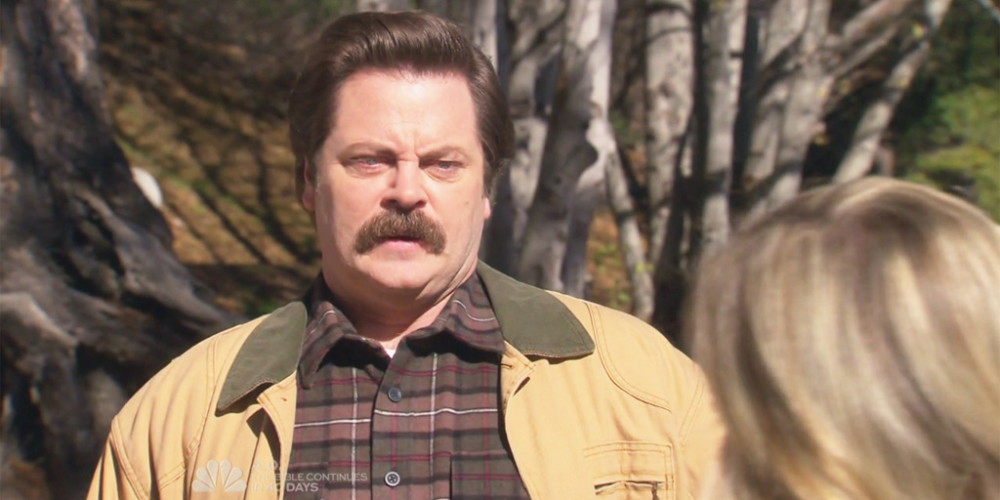 Ron Swanson meets Leslie Knope at the lake in Pawnee National Park picture3