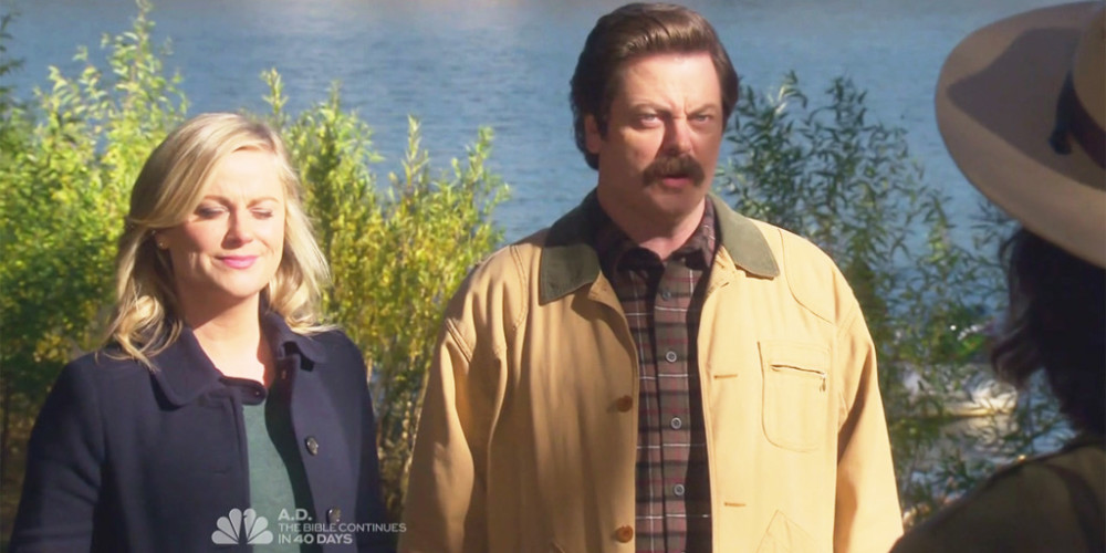 Ron Swanson introduces himself to his new Park Ranger staff picture2