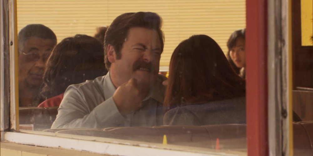 Ron Swanson and Tammy lunch image 3