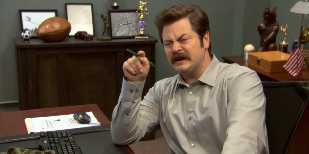 Ron Swanson does not like the library.