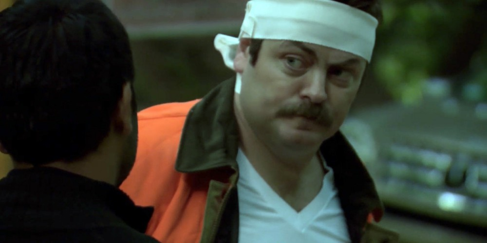 Ron Swanson was shot in the head by a moron.