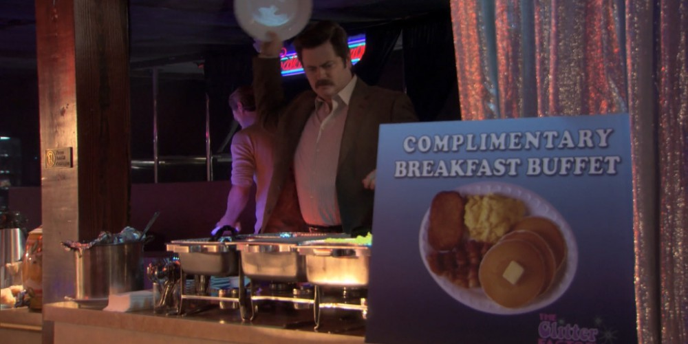 Ron Swanson strip club buffet 2
