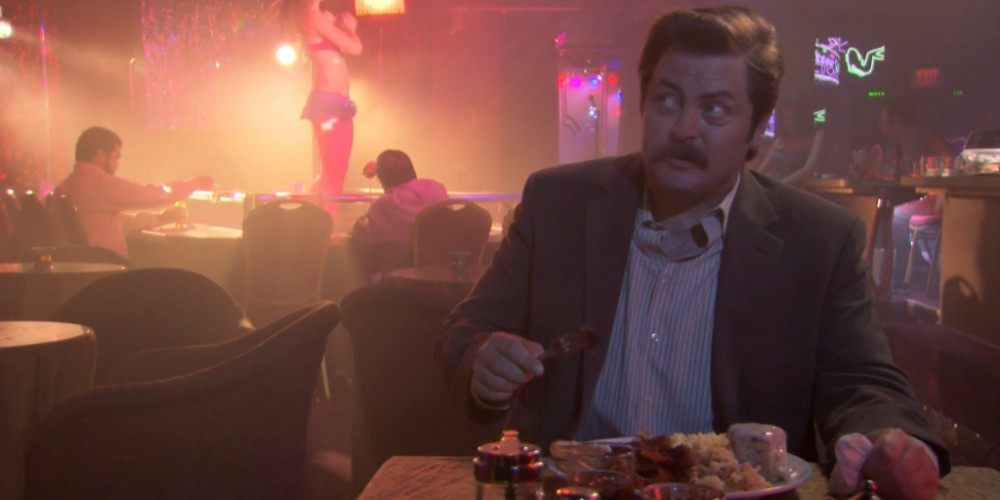 Ron Swanson strip club buffet 8