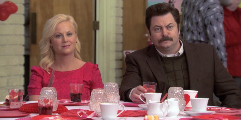 Ron Swanson and Leslie at the senior center Valentine's Day party.