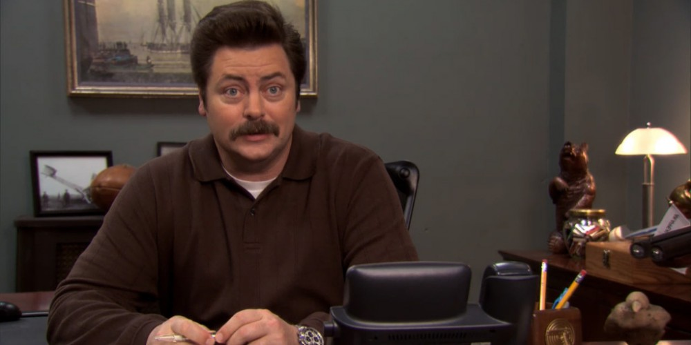 Ron Swanson teases Leslie about the IOW award.
