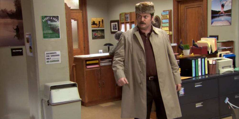 Ron Swanson coonskin hat 1