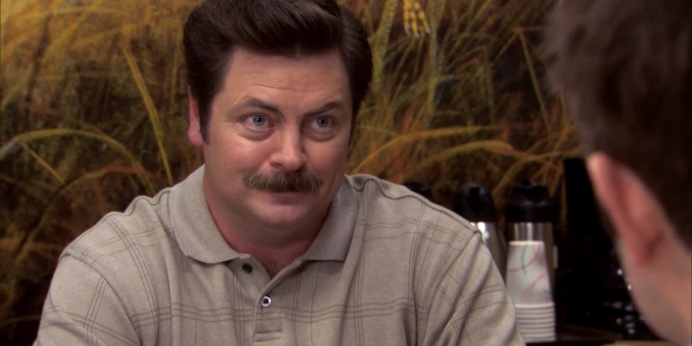 Ron Swanson Swanson's reactions to Ben cutting the budget picture 3