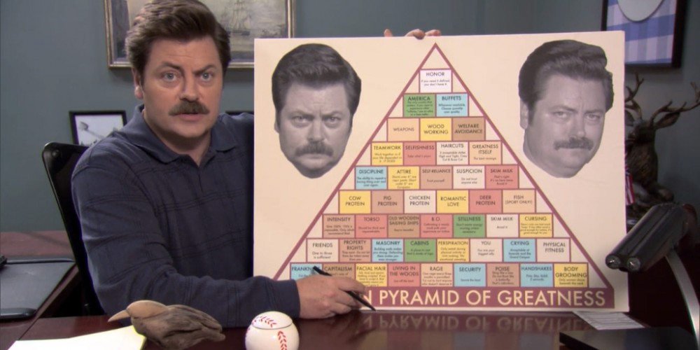 Ron Swanson introduces the Swanson Pyramid of Greatness