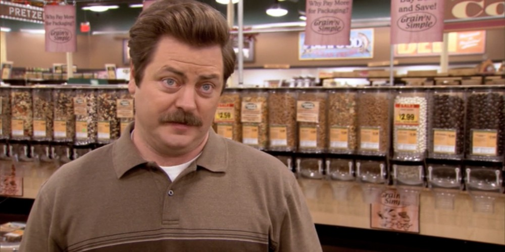 Ron Swanson at the health food store