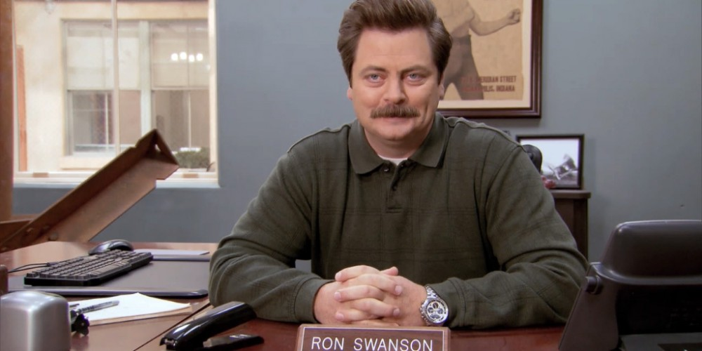 Ron Swanson Swanson's favorite part about having a new city manager