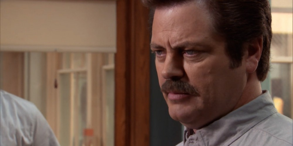 Ron Swanson as the head Scout Master for the Pawnee Rangers