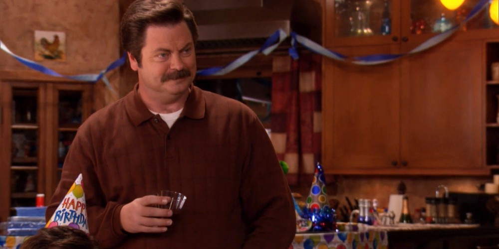 Ron Swanson saying something nice to Jerry on his birthday