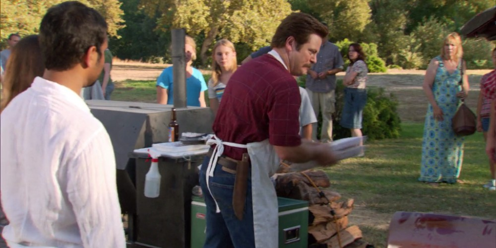 Ron Swanson towing the grill away picture5
