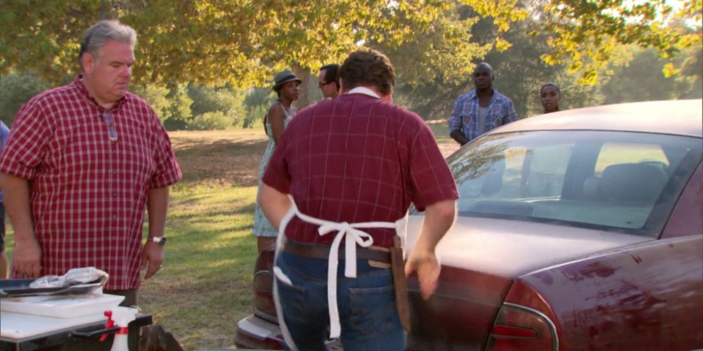 Ron Swanson towing the grill away picture6