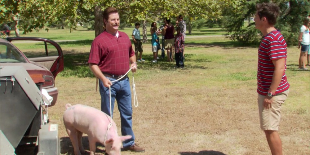 Ron Swanson and Pig Tom