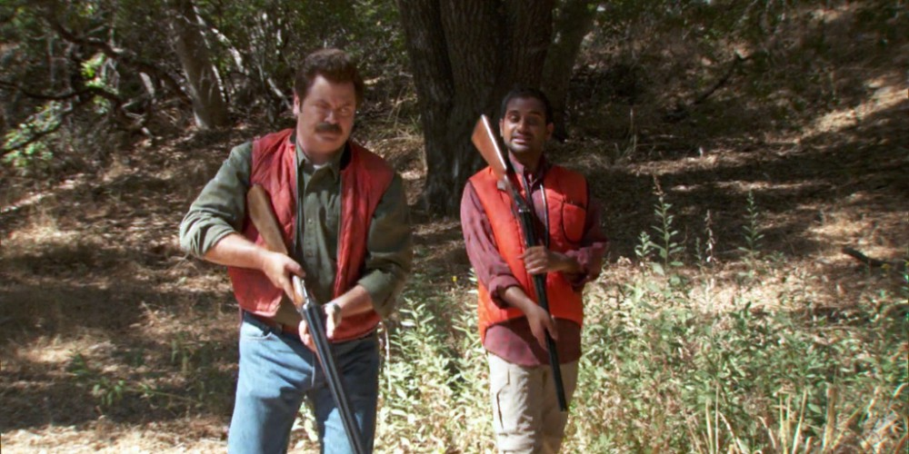 Ron Swanson and Tom in nature picture2