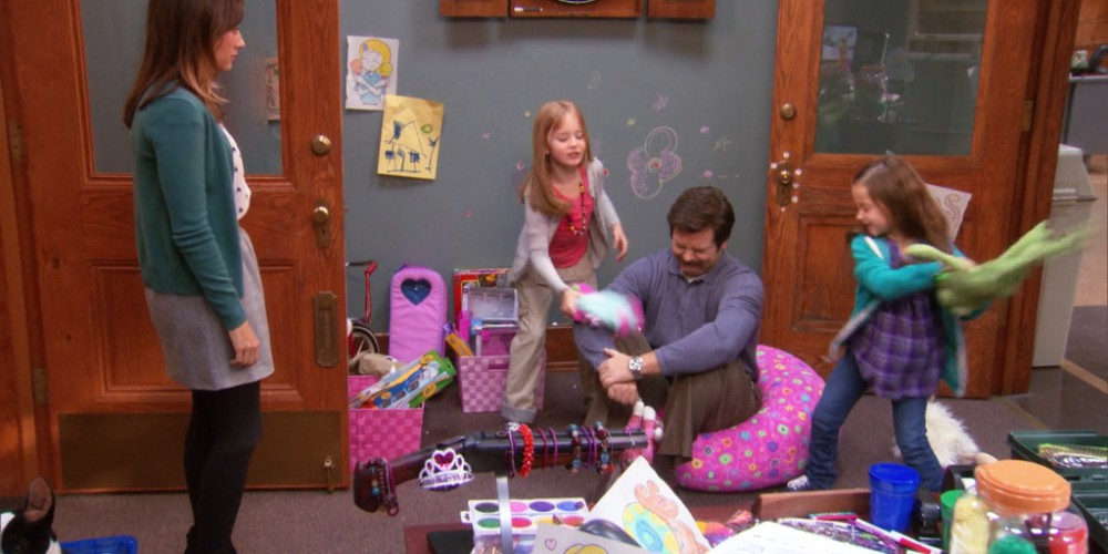 Ron Swanson the babysitter picture1