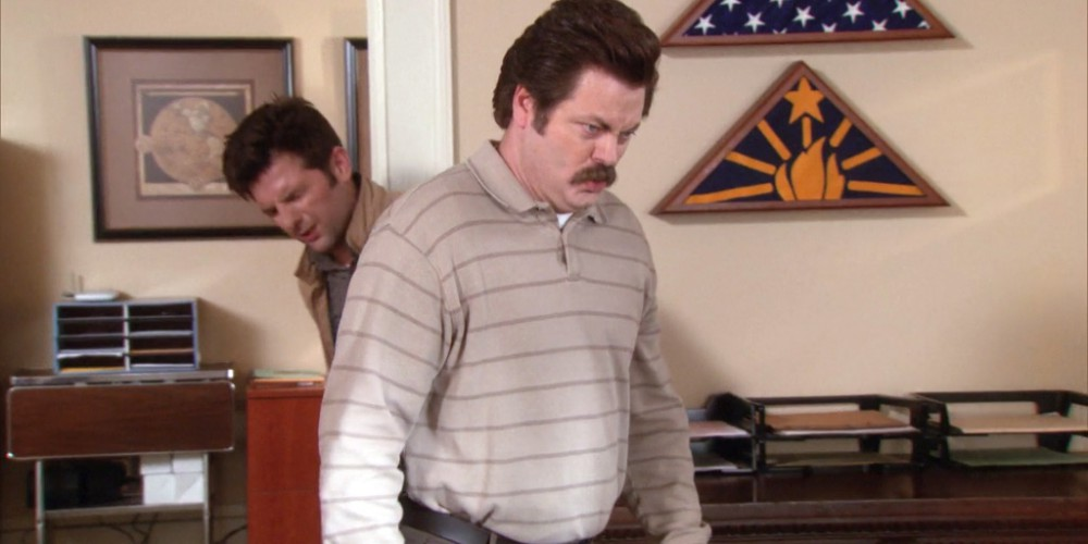 Ron Swanson did some damage to his toilet bowl.
