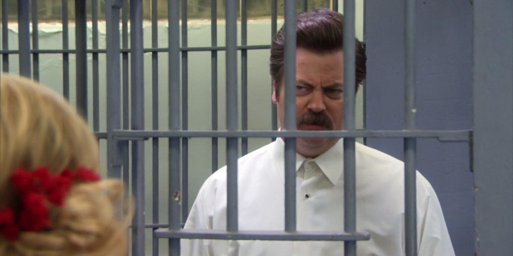 Ron Swanson has never presented a bride on her wedding day