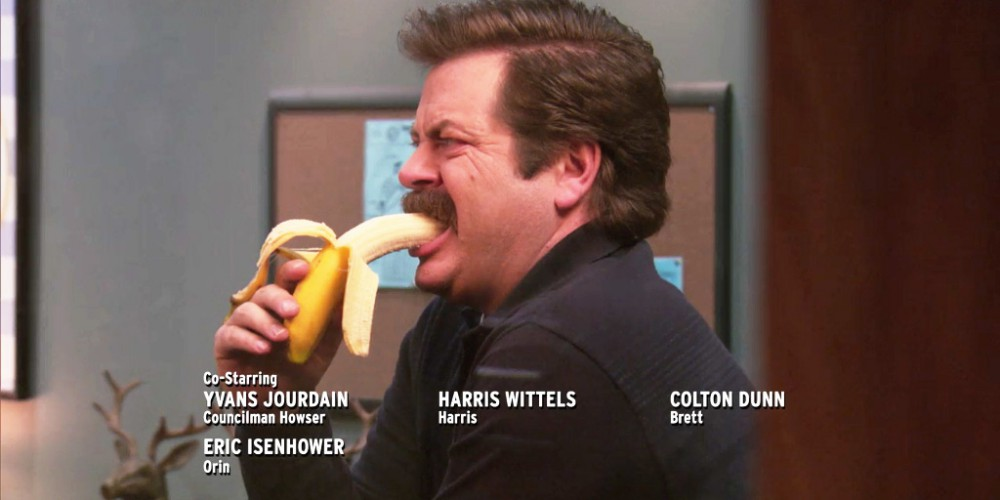 ron swanson eating a banana