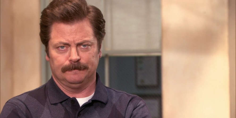 Ron Swanson cannot decide if Tom Haverford is a half grown, or full grown man