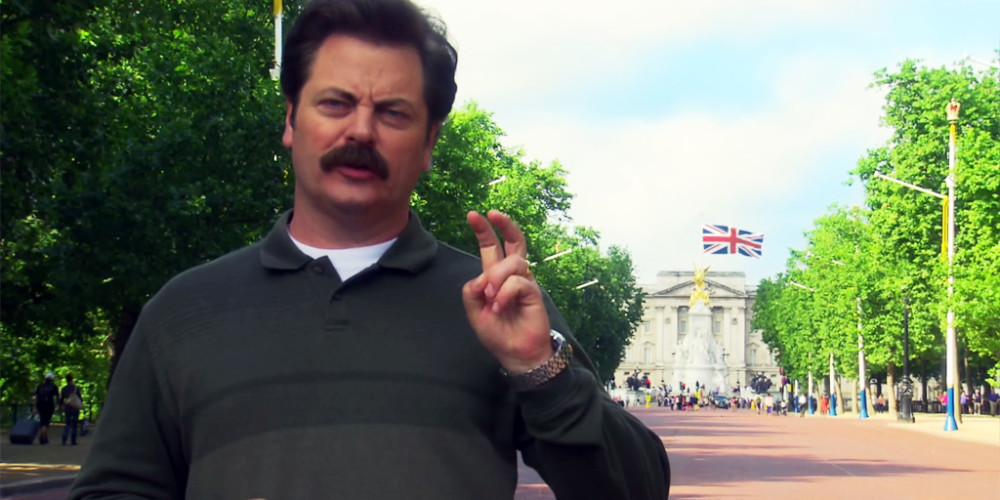 Ron Swanson was not happy about spending his honeymoon in London alone