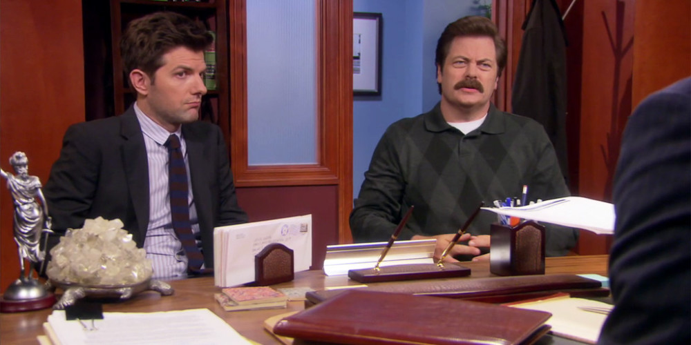 Ron Swanson is not very forthright about divulging assets