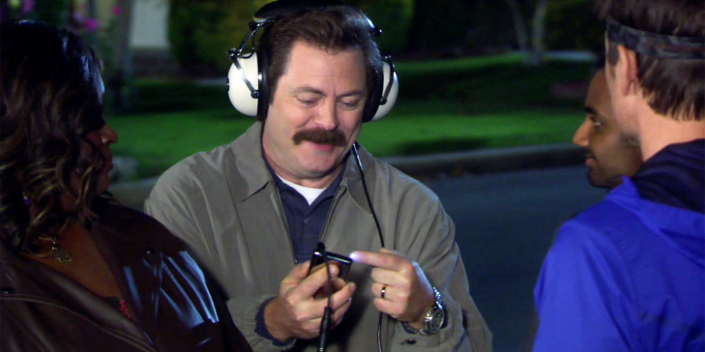 Ron Swanson really enjoys his new iPod aka excellent rectangle