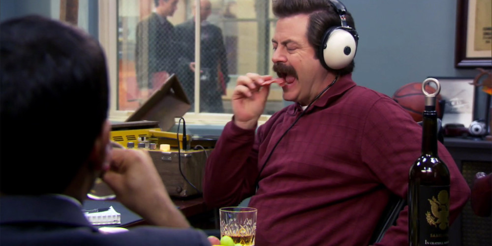 Ron Swanson enjoying his headphones picture1