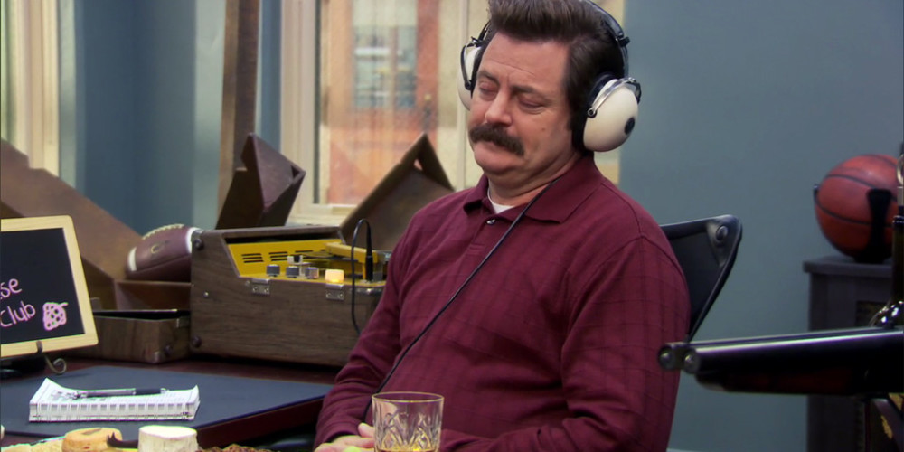 Ron Swanson enjoying his headphones picture3