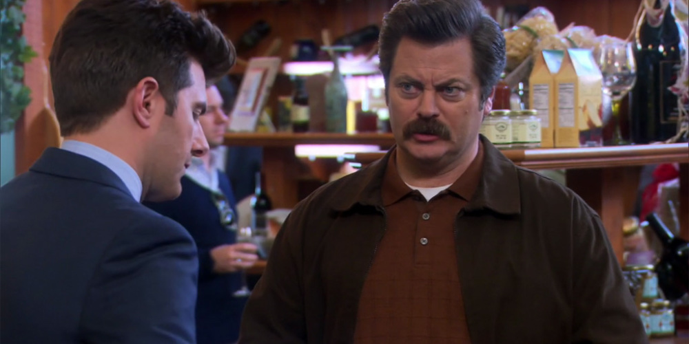 Ron Swanson finds alcohol may stop Ben from talking