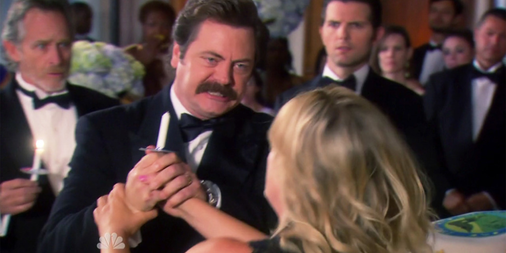 Ron Swanson and Leslie Knope fall into a cake picture1