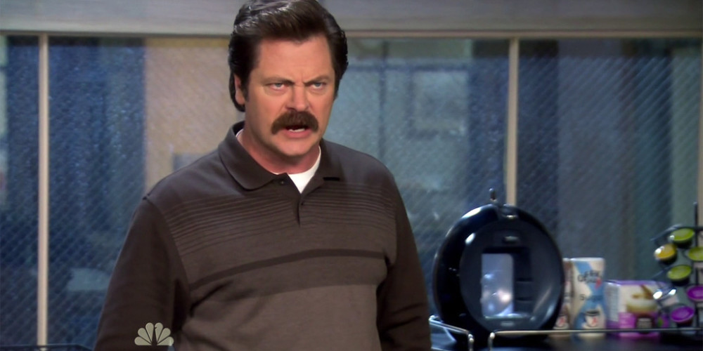 Ron Swanson would rather bleed out, then talk about feelings