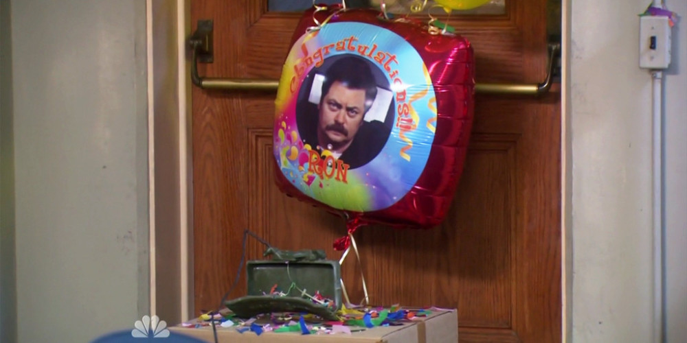 Ron Swanson's claymore mine was a toy filled with balloons and confetti picture3