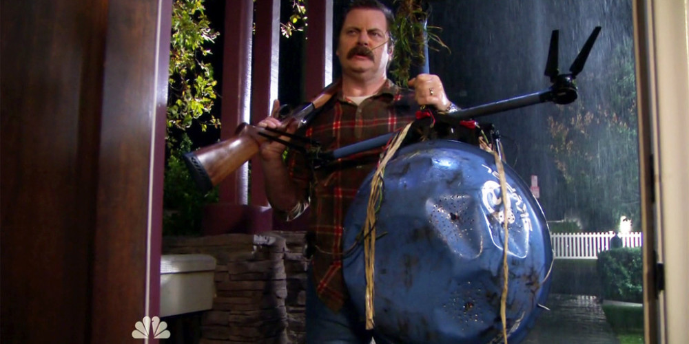 Ron Swanson destroyed the robot picture1