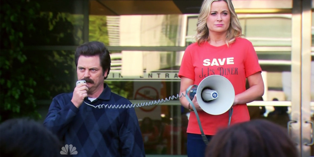 Ron Swanson does not like rallies, or you