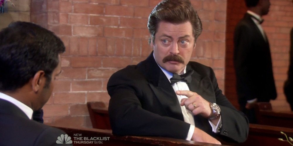 Ron Swanson will properly honor the expression of romantic love