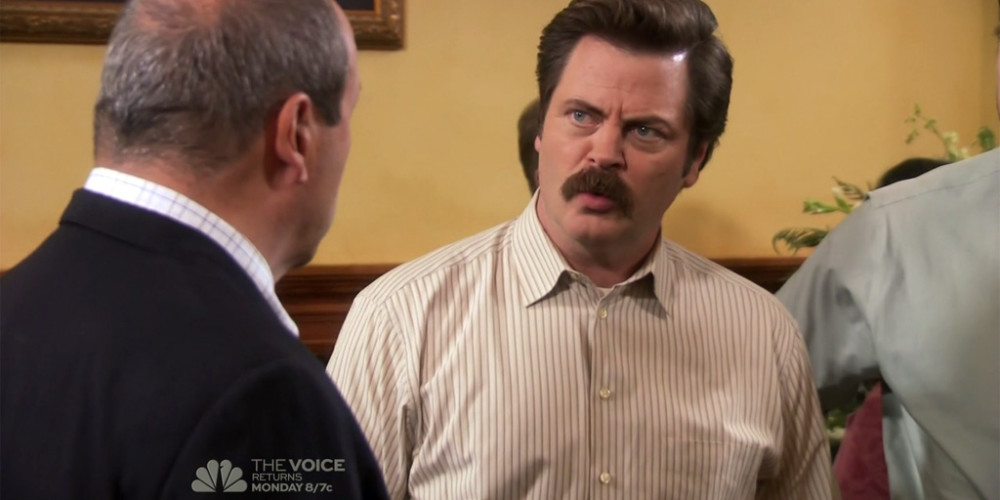 Ron Swanson dramatically reacts to news of barber Salvatore's passing picture1